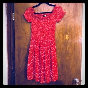 Baby Doll Off the Shoulders Polka Dots Red Dress